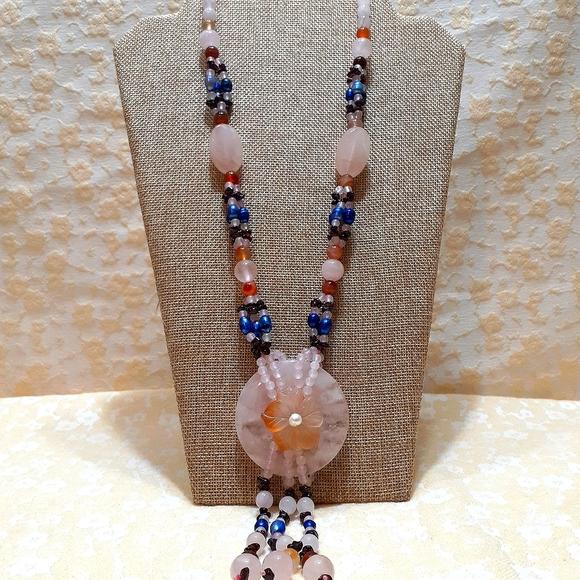 Multi semi-precious gemstone and pearl necklace